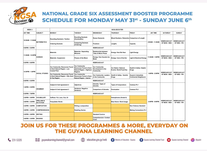 WEEK 3 - NGSA BOOSTER TIMETABLE