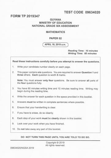 National Grade Six Assessment Past Papers - Mathematics