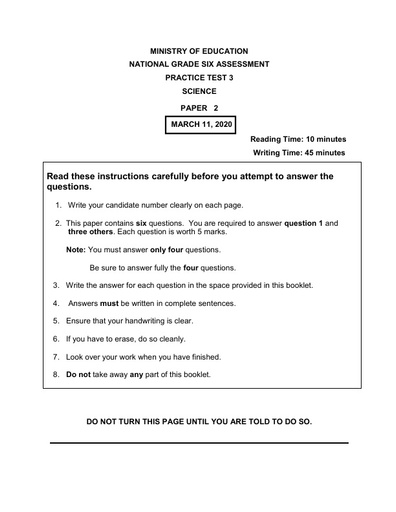 National Grade 6 Assessment Practice Test 2020 Science P2 and Mark Scheme