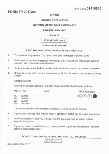 NG4 Assessment Past Papers - English