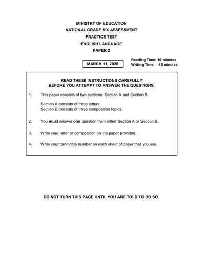 National Grade 6 Assessment Practice Test 2020 English Language P2