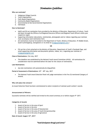 National Youth Award 2017 Nomination Guidelines and Form