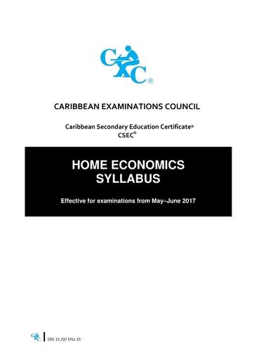 CSEC Home Economics Syllabus