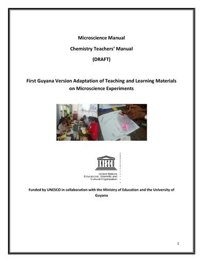 Chemistry Teachers' Manual