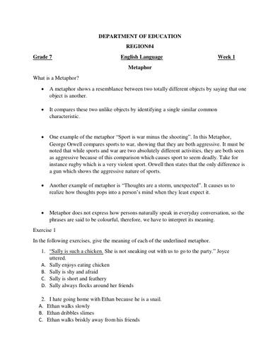 Grade 7 English Language Week 1