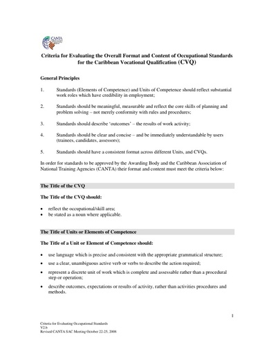 Criteria for Evaluating the Overall Format and Content of Occupational Standards for the Caribbean Vocational Qualification 2008