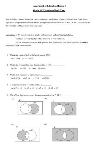 Grade 10 Mathematics Week 2
