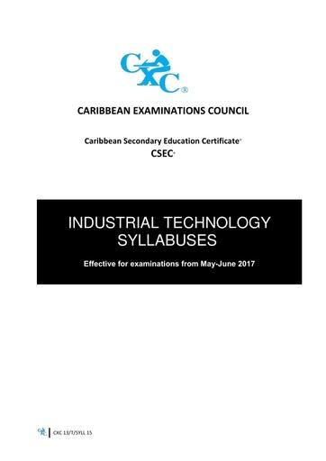 CSEC Industrial Technology Syllabus