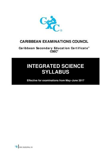 CSEC Integrated Science Syllabus