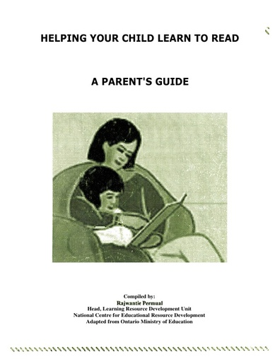 Helping your child learn to read A Parent's Guide