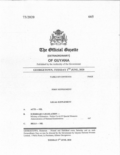 The Official Gazette Notice Covid 19 Special Measures Administration of National Examinations