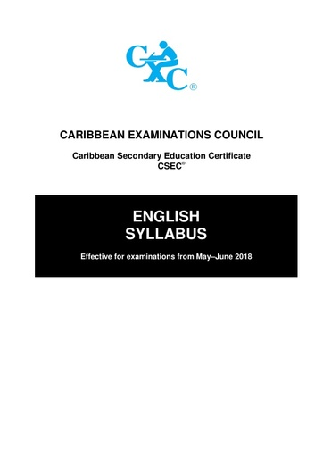 CSEC English Syllabus