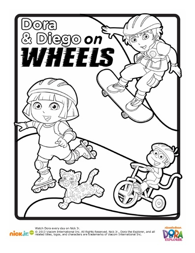 Dora & Diego on Wheels Coloring Pack