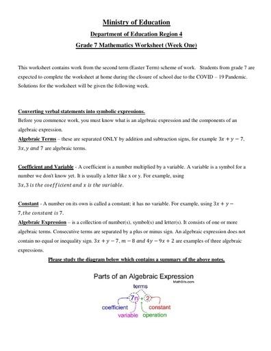 Grade 7 Mathematics Week 1