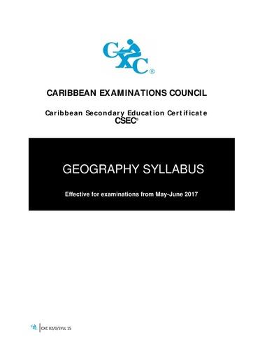 CSEC Geography Syllabus