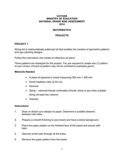 National Grade 9 Assessment Projects Maths 2014