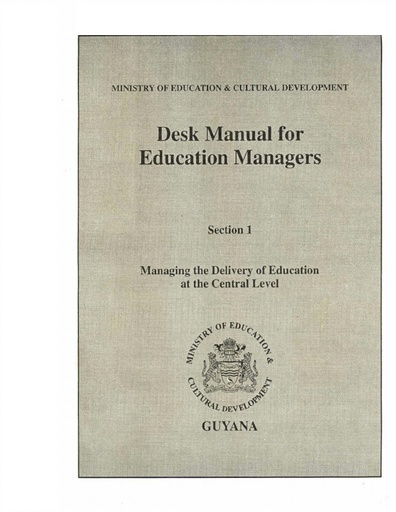 Desk Manual for Education Mangers  Section 1