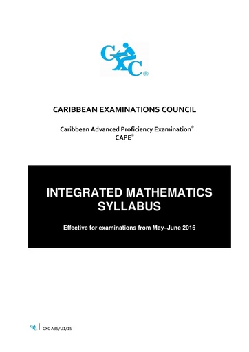 CAPE Integrated Mathematics Syllabus