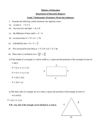 Grade 7 Mathematics Week 1 Solutions