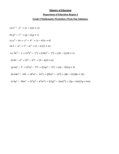 Grade 9 Mathematics Week 1 Solutions