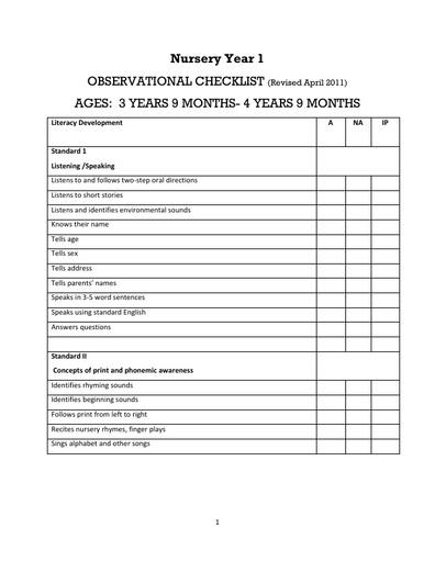 Nursery Observational Checklist Year 1