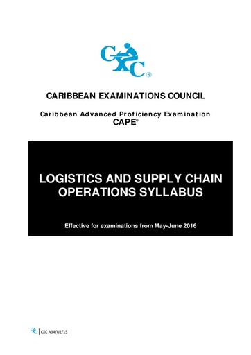 CAPE Logistics and Supply Chain Operations Syllabus