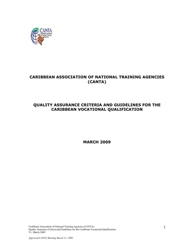 CANTA Quality Assurance Criteria and Guidelines for the CVQ